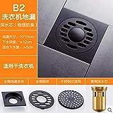 SJQKA Floor Drain Black Copper Deodorant Floor Drain Antique Bathroom Toilet Sewer Three-Way Washing Machine Floor Drain Bathroom Shower Room, D