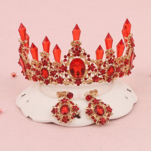 tiara diadem crown bride wedding dress red headdress court tiara diadem crown red crown hair accessories studio ()