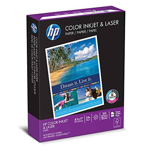 HP Color Inkjet & Laser  Paper, 24 lbs, 8.5 x11-Inch Letter,  97 Bright, 400 Sheets (202040)