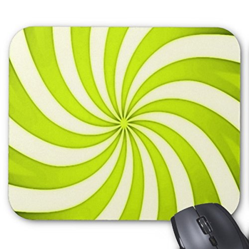 Candy Cane Stripe Mouse - Spiral Yellow Candy Cane Swirl Stripes Pattern Mouse Pad