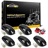 Partsam Smoke Cab Light 264146BK 5PCS Roof Running Marker Light with 5-5050-SMD 168 194 T10 LED Bulb + T10 Socket Compatible with Dodge Ram 1500 2500 3500 4500 5500 Pickup Trucks 2003-2018