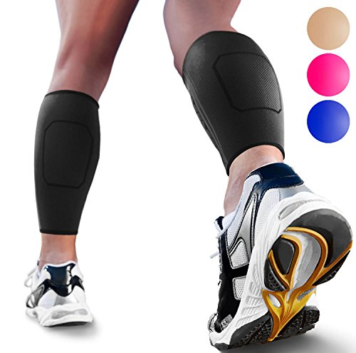 Calf Compression Sleeve by SPARTHOS (Pair) - Leg Compression Brace for Men and Women - Shin Splint Calf Pain Relief Calves Blood Circulation Sports Support Running Walking Cycling Yoga (Black-M)