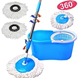 Goplus Microfiber Spin Mop with Bucket and 2 Heads Mop