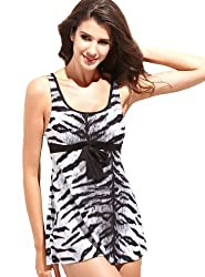 Women's Cool Tankini Swimsuit Tiger Stripe Print Tank Top Two Piece Swim Skirt (S)