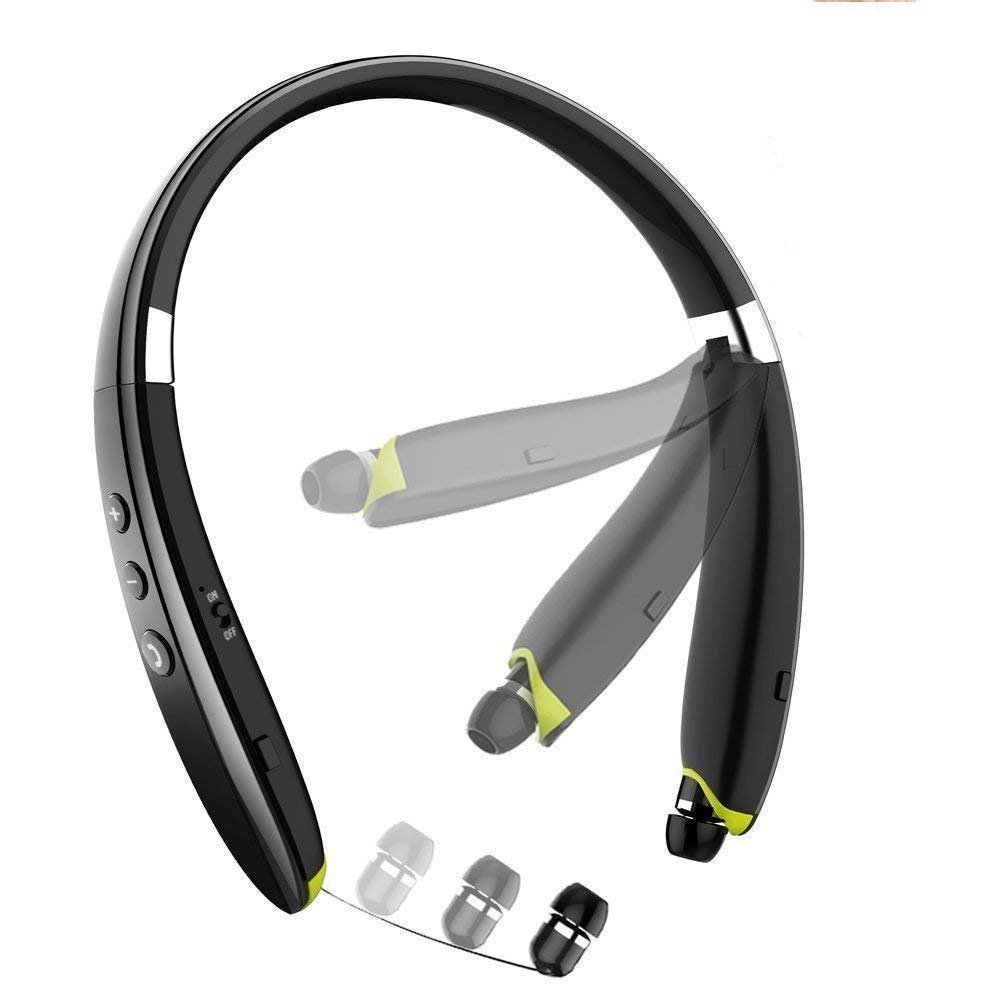 ZBHW Foldable Bluetooth Earphones in Ear Headphones Wireless Neckband Headset Stereo Noise Cancelling Retractable Sports & Exercise Earbuds with Mic for Smartphones