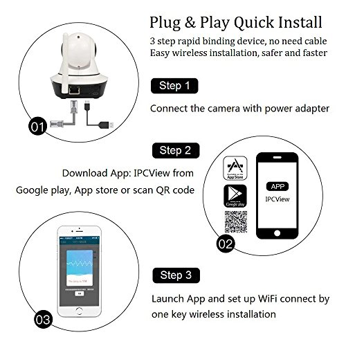Funxwe 1080P WiFi Wireless IP Camera Pan/Tilt PTZ Security Surveillance 2.0 Megapixels Two-way Audio Baby Monitor Webcam with SD Card Slot by Funxwe (Image #3)