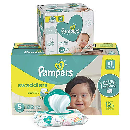 Pampers Swaddlers Disposable Baby Diapers Size 5, 132 Count and Baby Wipes Sensitive  Pop-Top Packs, 336 Count