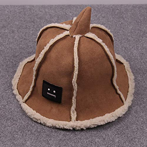(Autumn Winter hat Cap Tide Korea Deerskin Balaclavas Children Plus Velvet Bucket Hats Woolen cusp (Khaki (Sharp Corners Paragraph))