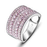 ANGG Cubic Zirconia Simulated Diamond Vintage 925 Sterling Silver Ring