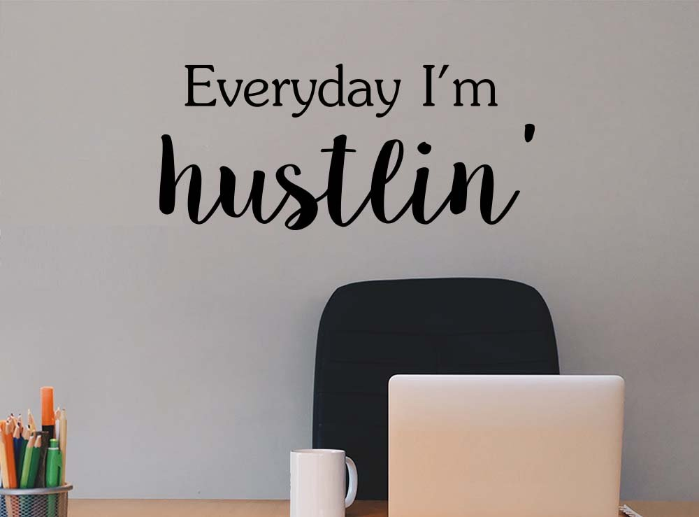 Everyday I'm hustlin office Classroom sport football cute inspirational family love vinyl quote saying wall art lettering sign room decor by Simple Expressions Arts