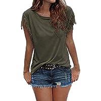 Pengy Clearance Women Sexy Tassel Short Sleeve Top Summer Loose Blouse Shirt