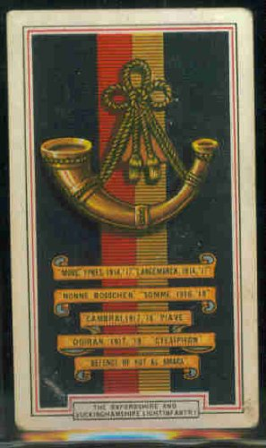 The Oxfordshire and Buckinghamshire Light Infantry 1939 Gallaher Cigarettes Army Badges #18 (GOOD) (Buckinghamshire Light)