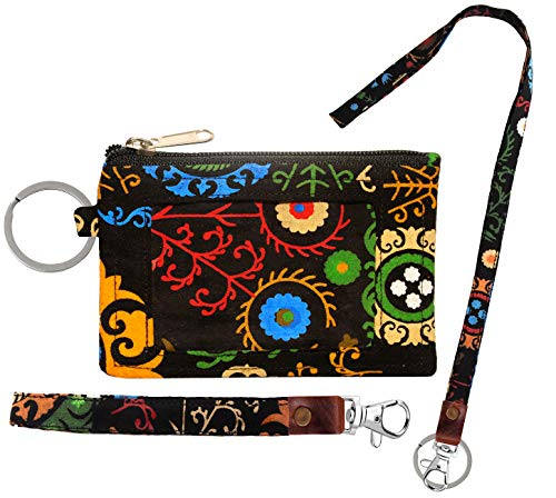 Zip ID Case, Lanyard & Wrist-let/Key Wallet/Credit Card Case Coins Purse with ID Window, Lanyard & Wrist-let (Marvel Black)
