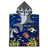 VOBCTY Microfiber Kids Hooded Bath Beach Pool Poncho Towel 2424Inch(Tiger Shark)