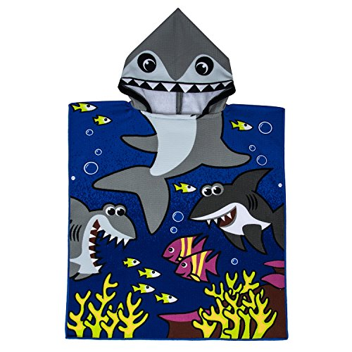 VOBCTY Microfiber Kids Hooded Bath Beach Pool Poncho Towel 2424Inch(Tiger Shark) by VOBCTY (Image #5)