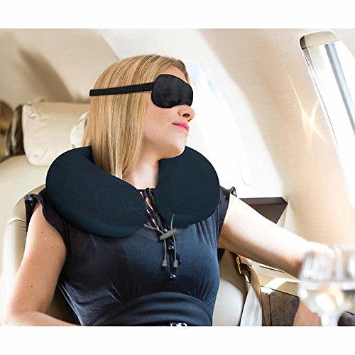 Airia Living ThermalFlip 2-Piece Travel Memory Foam Pillow, Eye Mask Set - Blue