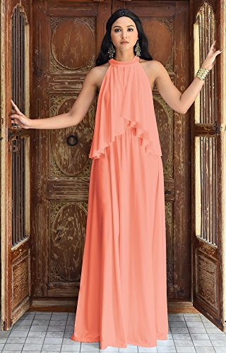 e9572261b7 ... Neck Flowy Bridesmaid Bridal Cocktail Spring Summer Beach Wedding Party  Guest Floor-Length Gown Gowns Maxi Dress Dresses