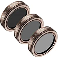Neewer 3 Pieces Lens Filter Kit for DJI Phantom 4 Pro, Multi-coated, High Definition Glass and Aluminum Alloy Frame Includes: ND4/PL, ND8/PL and ND16/PL (Gold)