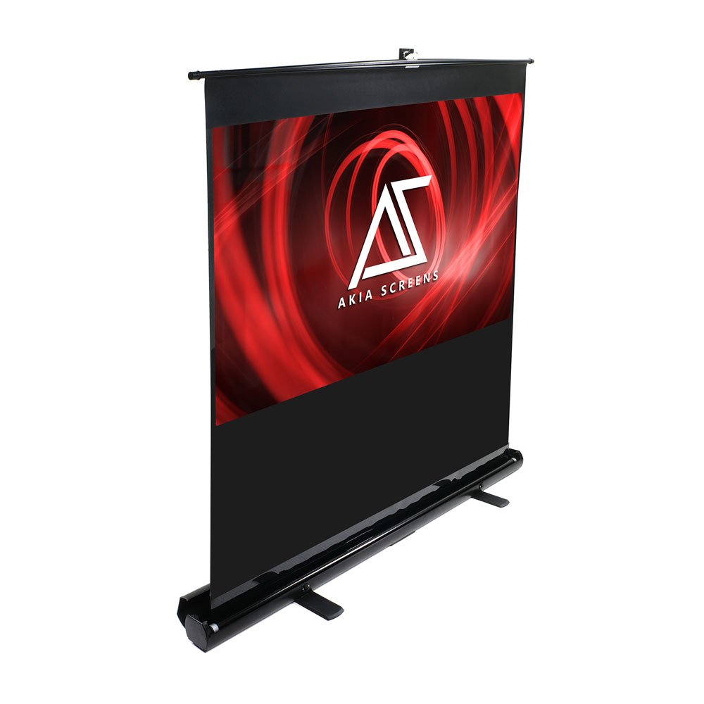 Akia Screens Floor Pull-Up Projector Screen, 60-inch Diagonal 4:3 Aspect Ratio, Portable Home / Office / Business Projection Screen