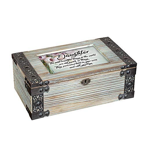 Daughter Once Held in Your Arms Metal Lattice Celadon Green Music Box Plays You are My Sunshine Dark Green Music Box