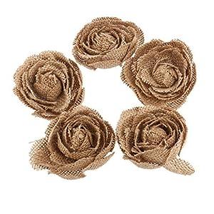 VORCOOL Hessian Burlap Rose Flowers 5 Pack for Christmas Wedding Decoration (Brown) 49