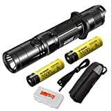 Nitecore MH12GTS 1800 Lumen Long Throw USB Rechargeable Tactical Flashlight with 2 High Performance Batteries and LumenTac Organizer