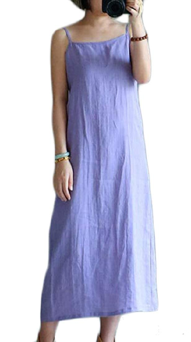 pipigo Women Linen Casual Summer Spaghetti Strap Underdress Tank Dress