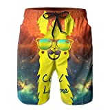 I Like Exercise Cool Llama with Sunglasses Men's Swim Shorts Printed Quick Dry Board Shorts X-Large