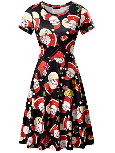 FENSACE Womens Short Sleeves Casual Ugly Christmas Sweater Party Dress (Small, Santa -