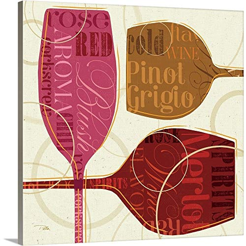 Colorful Wine III Canvas Wall Art Print, - Blush Pinot Grigio