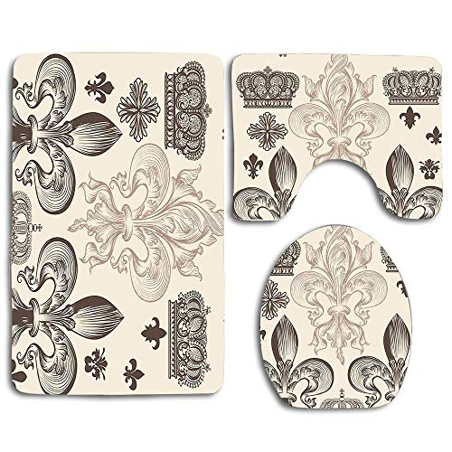 EnmindonglJHO Heraldic Pattern with Fleur De Lis and Crowns Tiara Iris Flowers Coat of Arms Knight 3pcs Set Rugs Skidproof Toilet Seat Cover Bath Mat Lid Cover Cushions Pads