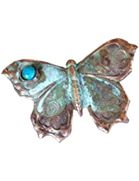 Verdigris Patina Butterfly Pin   Chrysophase