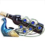 A.B Crew Creative Metal Iron Wine Rack Single Wine Bottle Holder Home Decor(Peacock)