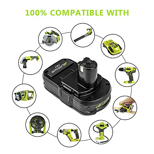 Battery for Ryobi 18v 2500mAh, Fhybat P102 Lithium Replacement 18 Volt ONE+ P108 P100 P104 P105 P110 Cordless Power Tools Batteries (2Packs) by Fhybat (Image #5)