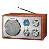 Victrola Wooden Desktop FM Radio with Bluetooth, Mahogany