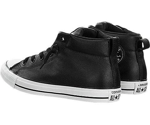 converse mens street leather mid top sneaker blackwhite