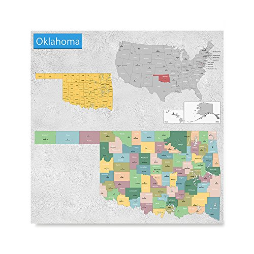 EzPosterPrints USA State Map Posters - Poster Printing - Wall Art Print for Home Office Decor - OKLAHOMA - 12X12 inches ()