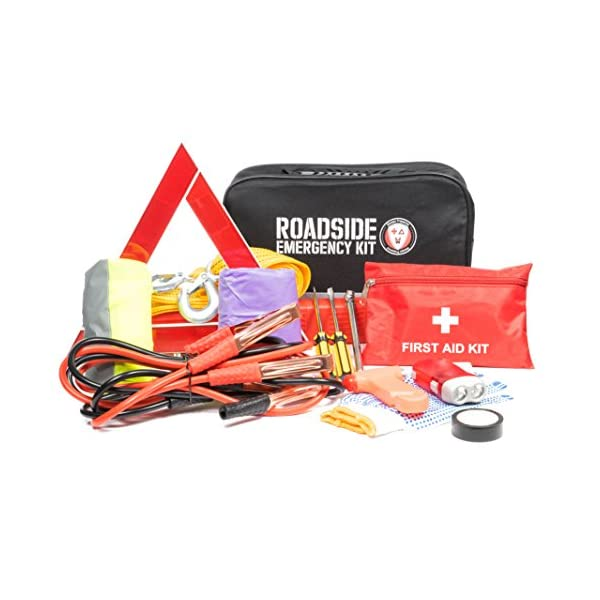 Roadside Assistance Emergency Car Kit   First Aid Kit, Jumper Cables, Tow Strap, Led Flash Light, Rain Coat, Tire Pressure Gauge, Safety Vest And More Ideal Winter Accessory For Your Car, Truck Or SUV