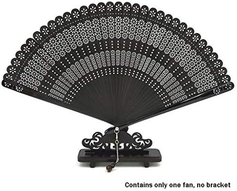 折りたたみ手のファン 中国風竹扇風機ヴィンテージ彫刻竹扇子装飾工芸ギフト扇風機 (Color : Black)