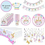 Unicorn Birthday Party Banner Decorations Supplies in Gift Box Party Favors Gift for Girls   Set for 16 Guests -114 Pieces + Bonus Gift