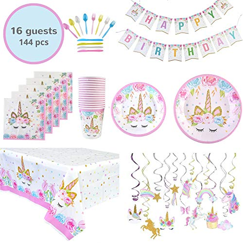 Unicorn Themed Birthday Party Supplies Set in Gift Box - Banner, Swirl Decorations, Plates, Tablecloths, Cups, Napkins, Disposable Magical Rainbow Tableware   Serves 16 - 114 Pieces + Bonus Gift