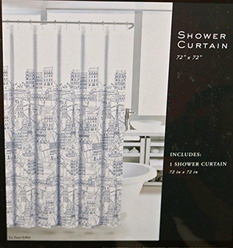 Nicole Miller Home Fabric Shower Curtain La Tour Eiffel Paris City ...