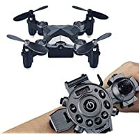 Megadream Mini RC Drone, 2.4G WIFI Foldable Watch Remote Control Quadcopter, 4CH 4 Axis, 0.3MP WIFI FPV Camera Pocket Size, Christmas Gift for Children