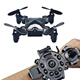 Arvin Remote Control Drone ,Portable Mini Helicopter with Wearable Watch Remote Foldable Drone 4 Axis FPV Camera 0.3MP Aerial Photography/Altitude Hold/ Auto Return and Real-time transmission For Sale