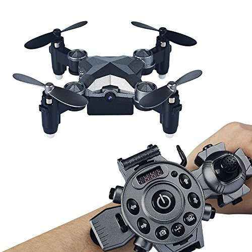 Arvin Remote Control Drone ,Portable Mini Helicopter with Wearable Watch Remote Foldable Drone 4 Axis FPV Camera 0.3MP Aerial Photography/Altitude Hold/ Auto Return and Real-time transmission