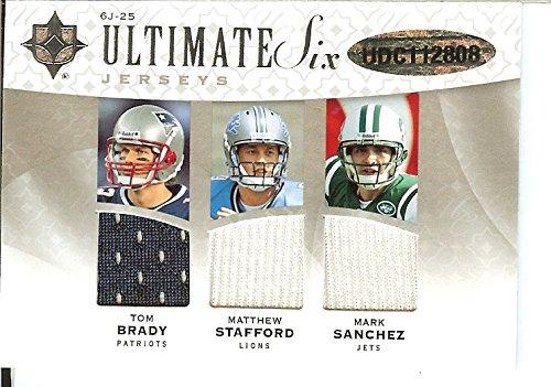 2009 Upper Deck Ultimate Collection - Ultimate Six - Jerseys #6J-25 Joe Flacco, Matt Ryan, Peyton Manning, Mark Sanchez, Tom Brady, Matthew Stafford #60/99