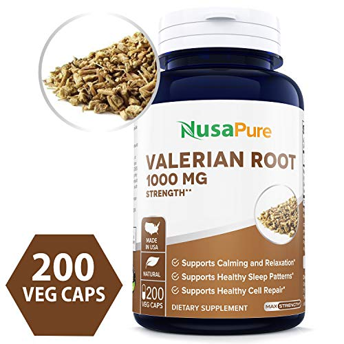Valerian Root 1000mg 200 Veggie Caps (Non-GMO, Gluten Free & Odorless) Naturally Aids Sleep, Aids Anxiety, Helps with Stress Management - Made in USA - 100% Money Back Guarantee Order Free Risk! ()