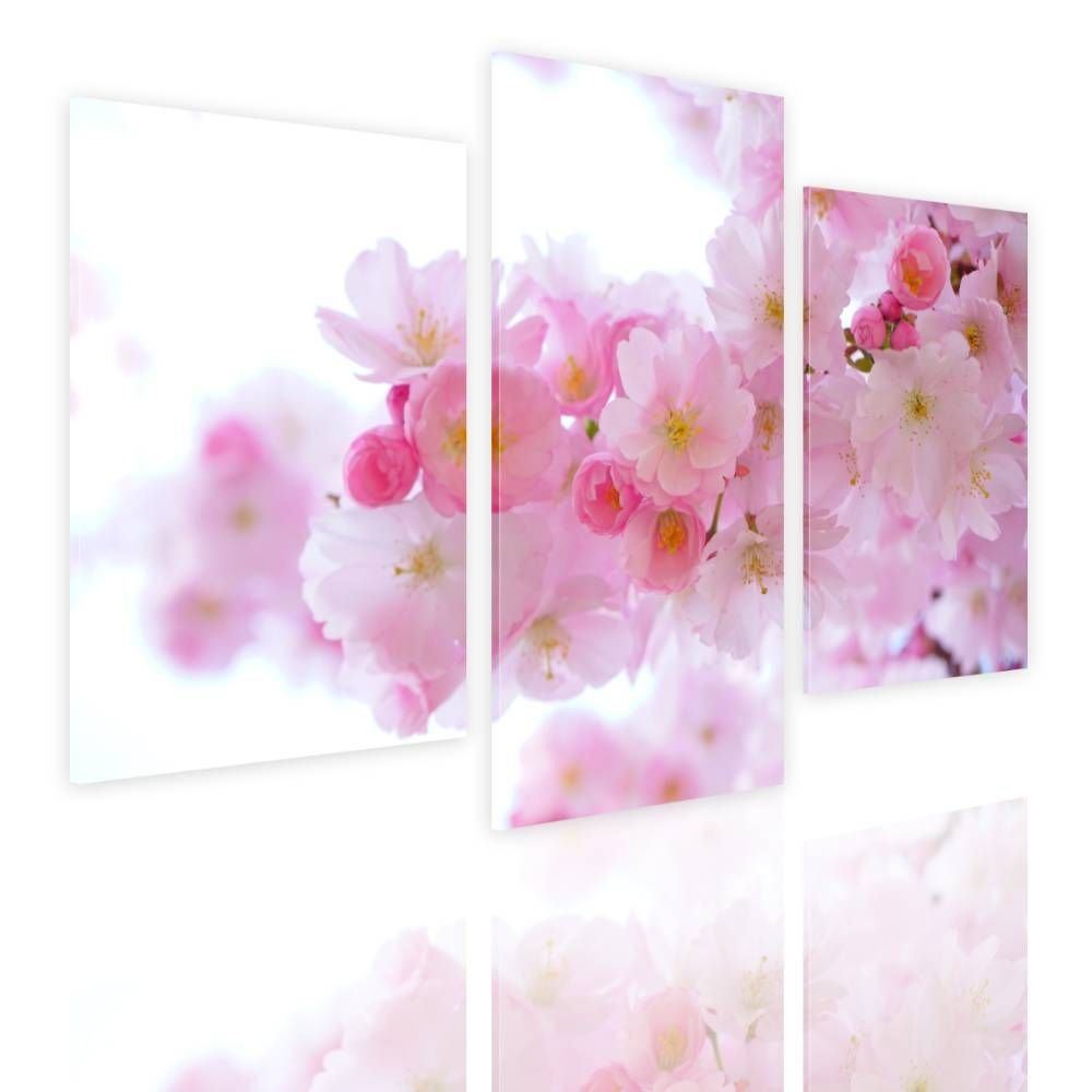 Alonline Art - Japanese Cherry Trees by Split 3 Panels | framed stretched canvas on a ready to hang frame - 100% cotton - gallery wrapped | 39''x26'' - 99x66cm | Wall art home decor for dining room
