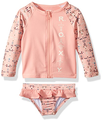 Roxy Little Girls' Long Sleeve Zip-up Rashguard Swimsuit Set, Peaches N Cream Azaz, (Roxy Kids Girls Swimwear)