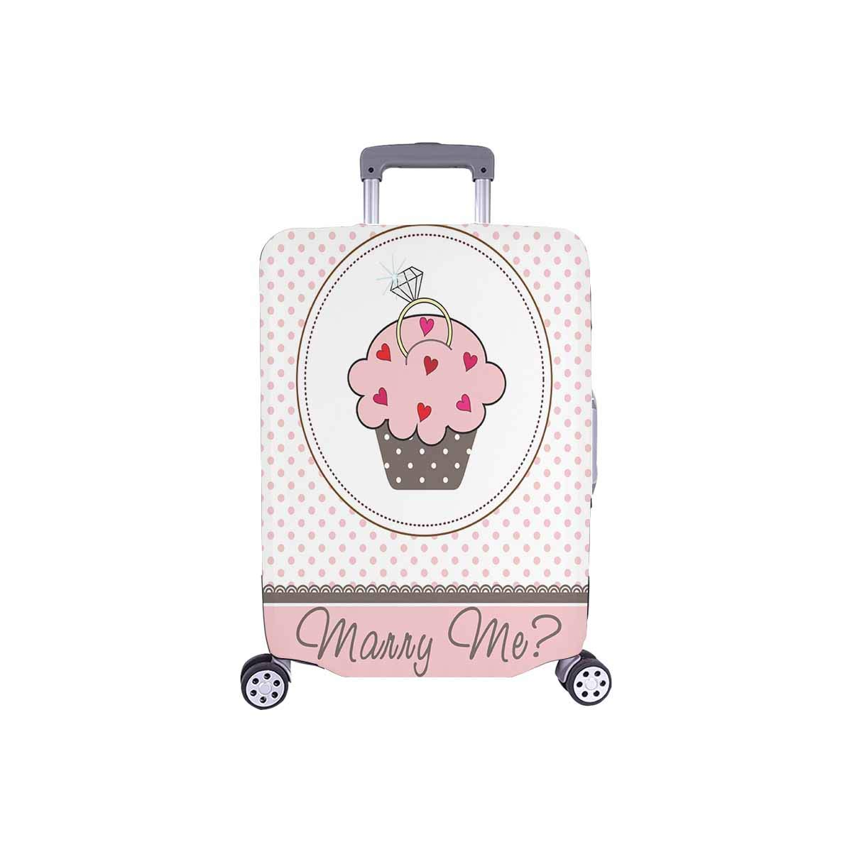 InterestPrint Luggage Protectors Cute Suitcase Covers Wedding Cupcake Card with a Ring Fit 18-21 Inch Luggage